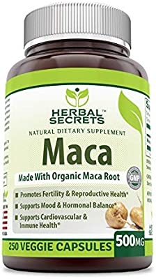 Herbal Secrets Maca 500 Mg 250 Veggie Capsules (Non-GMO) - Supports Reproductive Health, Mood, Hormonal Balance, Cardiovascular Health & Immune Health*