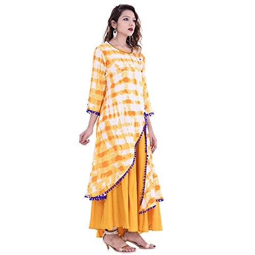 Chichi Indian Women Kurta Kurti 3/4 Sleeve Large Size Floral Printed Round Anarkali Orange-White Top by CHI (Image #3)