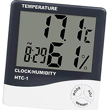 censhaorme Mini termómetro Digital Medidor de Humedad Temperatura Ambiente Habitación LCD Reloj Despertador Higrómetro: Amazon.es: Hogar