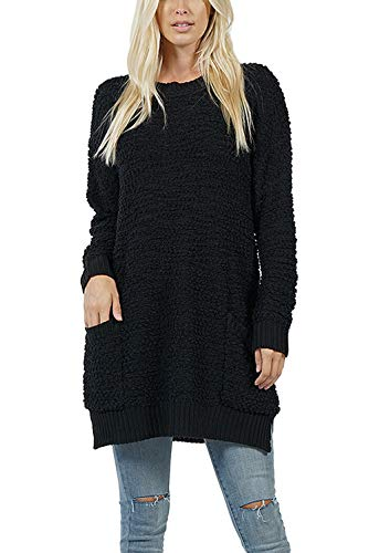 Boho Long Sleeve Soft Warm Chunky Knit Open Front Popcorn Cardigan - Cozy Casual Sweater Outwear with Pockets (Medium, Black)