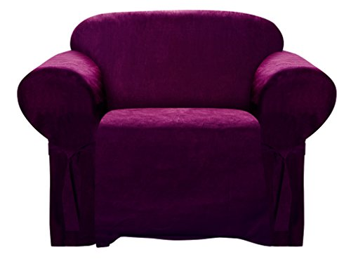 (Armchair Slipcover BURGUNDY Color Soft Micro Suede with Elastic Band Under Seat Cushion Chair Furniture Cover)