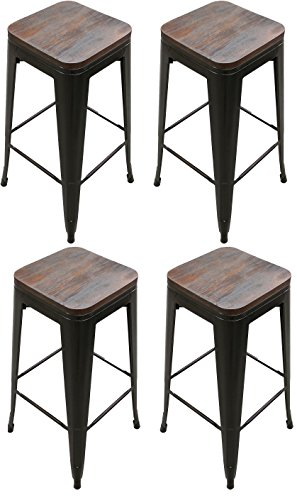 Bar Wood Finish Bronze Stool (Titan 30