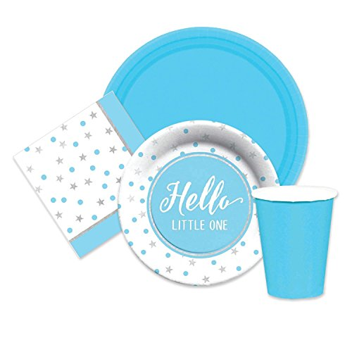 Baby Shower Boy Party Supplies Blue & Silver for 16 Dinner Plates, dessert plates, napkins paper cups