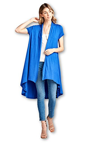 ReneeC. Women's Extra Soft Natural Bamboo Short Sleeve Cardigan - Made in USA (Medium, Royal Blue)