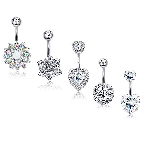 (Finrezio 5Pcs 14G Belly Button Rings Surgical Steel Sunflower Flower Rose Heart CZ Navel Ring Set Belly Piercings Body Jewelry)