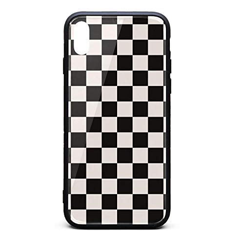 - Kaiui Aidof iPhone Xs Max Case 9H Tempered Glass Back Cover Anti-Scratch Black Checkered Squares Protective Phone Cover Compatible with iPhone Xs Max
