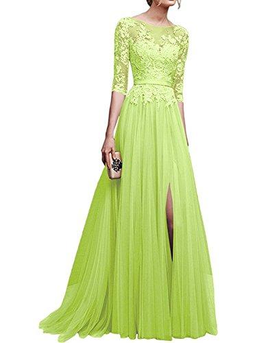manica da da Donna ballo 4 Pizzo Lungo Abito Verde Vestito 3 sera da JAEDEN festa Tulle Abito Lime Fessura wI1xZI