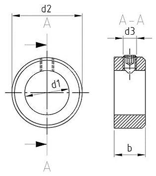 Stellringe DIN 705 A2 mit Gewindestift DIN 914 V2A Stellring Kiefer24 - 5 St/ück A8 Edelstahl Innen-/Ø = 8 mm