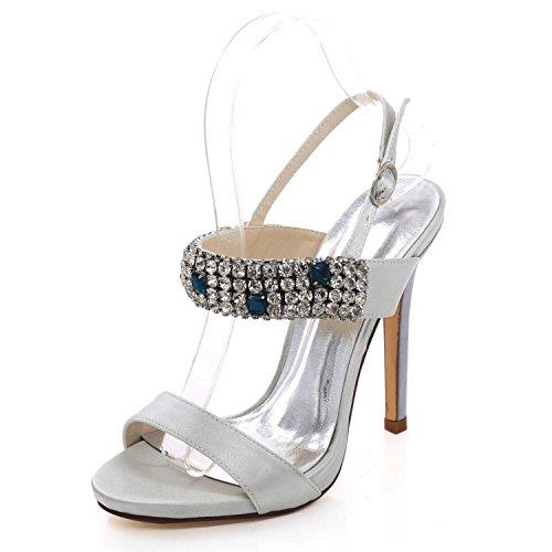 Open Talons 10 de Rhinestones Hauts Party Chaussures Silver YC à Mariage D7216 Toe L qTzB6gx