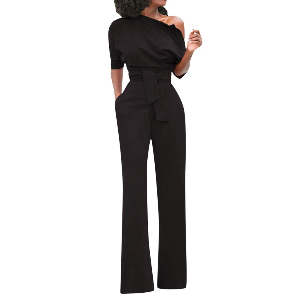 Sunhusing Women Solid Color Sexy Off-Shoulder Short Sleeve Siamese Trousers Belt Strappy Slim Jumpsuit Pants Black by Sunhusing
