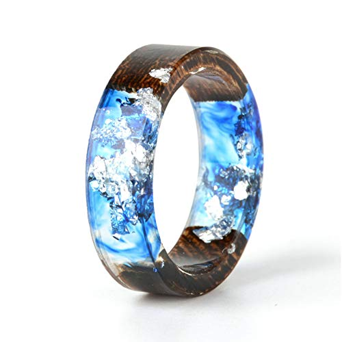 NDJEWELRY Unique Handmade Wood Resin Band Ring with Silver Foil Inside Ocean Blue Crystal Ring Best Gift for Her Size 11