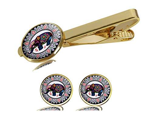 Elephant Cufflinks Gold - LCTCKP Image Custom Fashion Men's Initial Shirt Cufflinks Tie Clips Formal Wedding Jewellery Set - Gold (Elephant)