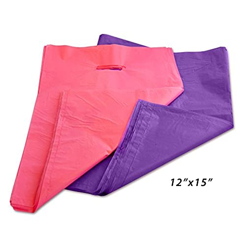 100 12 x 15 Plastic Retail Bags with Handles in Wholesale Bulk for  Event Shopping, Gifts, Merchandise, and Clothes 1.7 mil