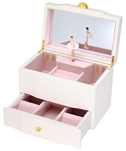 Attii Ballerina Jewelry Box Wooden Music Box for Girls with Drawer and Large Mirror, Waltz of The Flowers (The Nutcracker) Tune, White