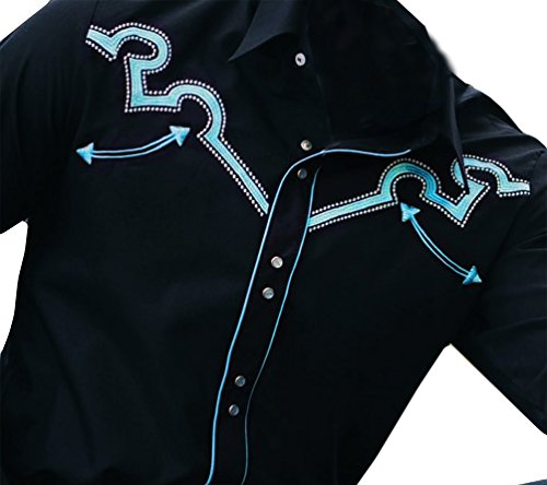 Modestone Men's Embroidered Long Sleeved Western Hemd Filigree Black