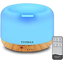 [Update] TUOMAN 300ml Remote Control Ultrasonic Humidifier Aromatherapy Diffuser Portable Cool Mist Oil Diffuser With 7 Color LED Lights Waterless Auto Shut-off - Wood Pattern