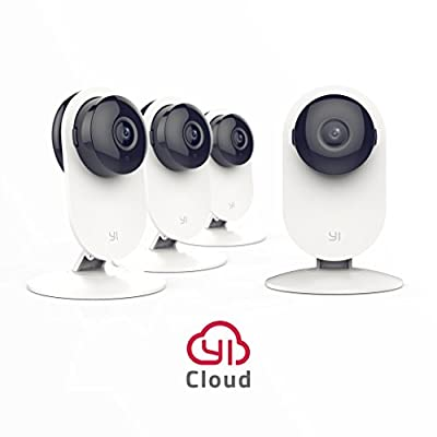 YI 4pc Home Camera, Wireless IP Security Surveillance System with Night Vision for Home, Office, Shop, Baby, Pet Monitor with iOS, Android, PC App - Cloud Service Available