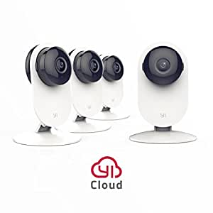 YI 4pc Home Camera, Wireless IP Security Surveillance System with Night Vision for Home, Office, Shop, Baby, Pet Monitor - Cloud Service Available
