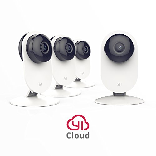 Wireless Ip Surveillance Camera (YI 4pc Home Camera, Wireless IP Security Surveillance System with Night Vision for Home, Office, Shop, Baby, Pet Monitor with iOS, Android, PC App - Cloud Service Available)