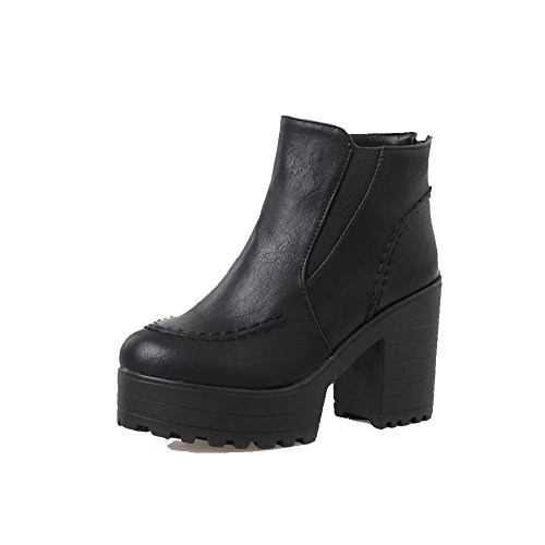 Closed Heels Round Solid Allhqfashion Boots High Zipper Toe Women's Black PU XI7npp5xq