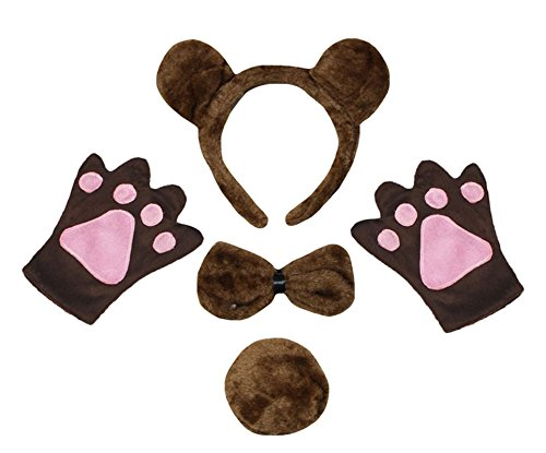 Petitebella Headband Bowtie Tail Gloves Unisex Children 4pc Costume (Brown Bear) -