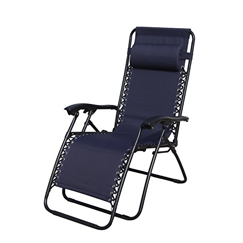 Grand Patio Premium Infinity Zero Gravity Chair, Weather Resistant Patio Lounge Chairs, Super Durable Reclining Patio Chair With Cup Holder, Blue (Reclining Patio Chair)