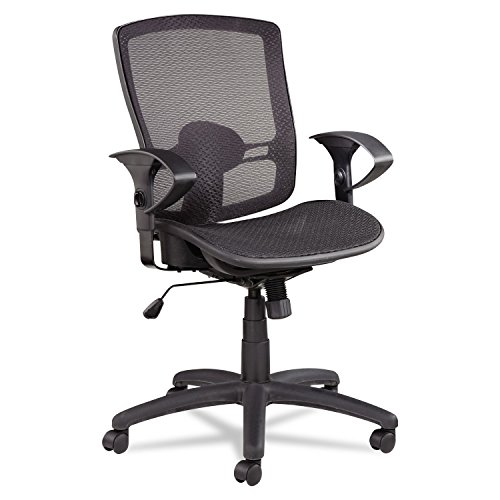 Alera Etros Series Suspension Mid-Back Synchro Tilt Chair with Mesh Back Seat, Black