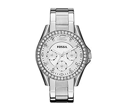 Fossil Women's 40mm Silvertone Riley Stainless Steel Watch from Fossil