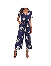 TAGGMY Jumpsuits for Womens for Holiday Elegant V-Neck Ladies Rompers Floral Print Overalls Short Sleeve Party Playsuit