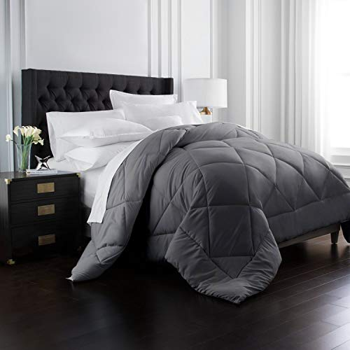 Park Hotel Collection Goose Down Alternative Comforter - All Season - Premium Quality Luxury Hypoallergenic Comforter - Gray - Full/Queen