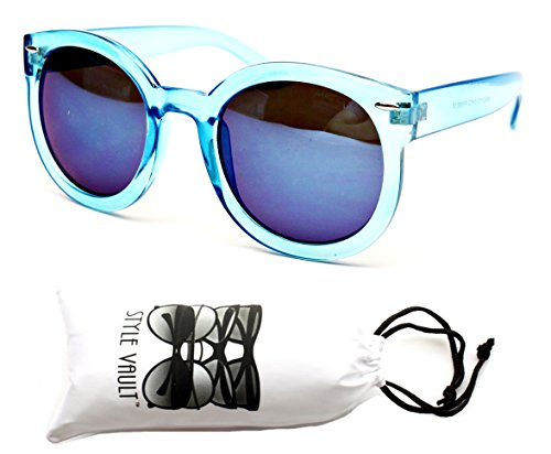 V159-vp Style Vault 'Wayfarer Style Round' Sunglasses (B1326F Icicle Blue-Blue Mirror, (Icicles Sunglasses)