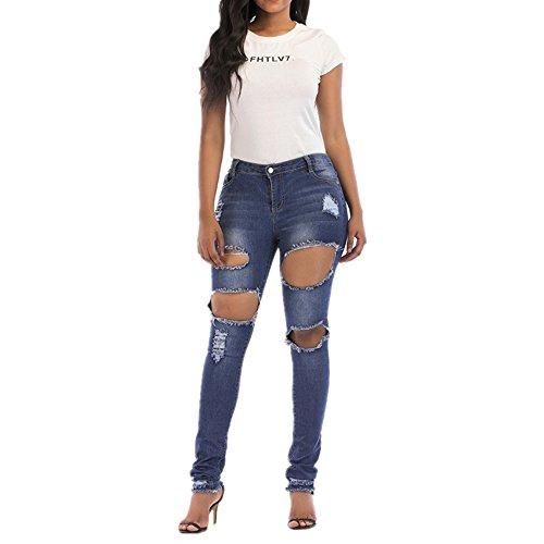 Isbxn La Couleur des Femmes lastique Trou Broderie Broderie Denim Taille Haute Pantalons (Color : Blue, Size : XL) Blue