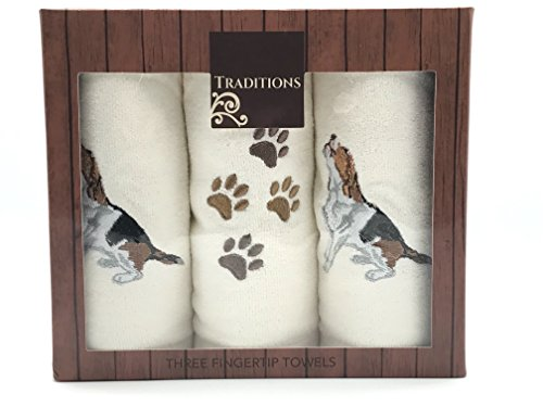 Holiday Christmas Cotton Tip Towels: Decorative Embroidered Dog Design, 3 Piece Gift Pack (Beagle)