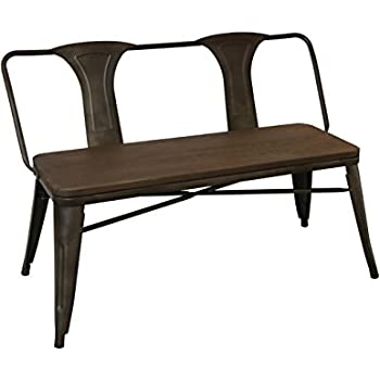 Awesome BTEXPERT Industrial Antique Distressed Rustic Steel Frame Metal Dining Bench  With Full Back Wood Seat,