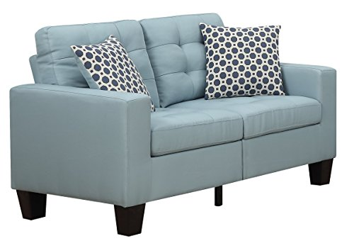 Furniture World Aston Love Seat, Turquoise (Sectional Sleeper Loveseat)