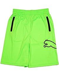 Big Kids Soccer Shorts Lime Green and Black Xlarge