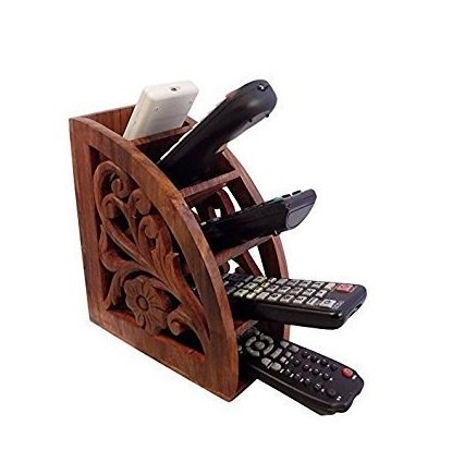 Fine Quality Vintage Wooden TV,AC Remote Control Storage Holder Stand Organizer Rack for Space Saving