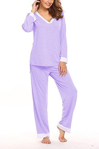 Sweetnight Women's Long Sleeve Pajamas V-Neck Shirt Elastic Waist Pants Sleepwear PJS Set (XL, A-Purple) (Purple Sleep Pant)