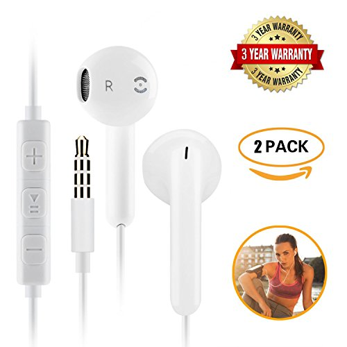 Apple earphones Ancoki,Earbuds, Stereo Headphones and Noise Isolating headset , Mic and Remote Control for Apple iPhone iPod iPad Samsung Galaxy LG HTC (2 PACK) Apple Earbud Headphones