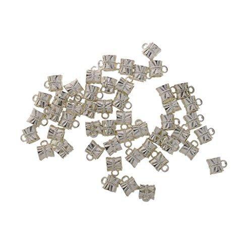 BARGAIN HOUSE 50pcs silver craft bead tube charm pendant bracelet jewelry make accessory ()