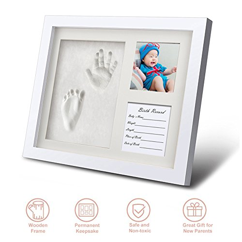 Footprint Photo Frame, Newborn Baby Handprint Ornament Kit Stamp Pad Baby Hand and Footprint kit Dog No Brake Clay Mold Unique Baby Shower Gifts for Family Toddler Grandparents Boy and Girl Room Decor