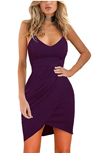 Zalalus Women's Bodycon Cocktail Party Dresses Deep V Neck Backless Spaghetti Straps Sexy Summer Short Casual Club Sundress Above Knee Length Sleeveless Purple Small -