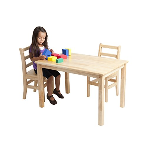 ECR4Kids Deluxe Hardwood Activity Play Table for Kids, Solid Wood Childrens Table for Playroom/Daycare/Preschool, 30 x 48 Inch Rectangle, Natural Finish