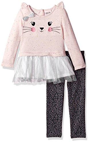 Cotton Leopard Legging Set (Little Lass Little Girls' 2 Pc Leopard Kitty Legging Set, Orchid Pink, 6)