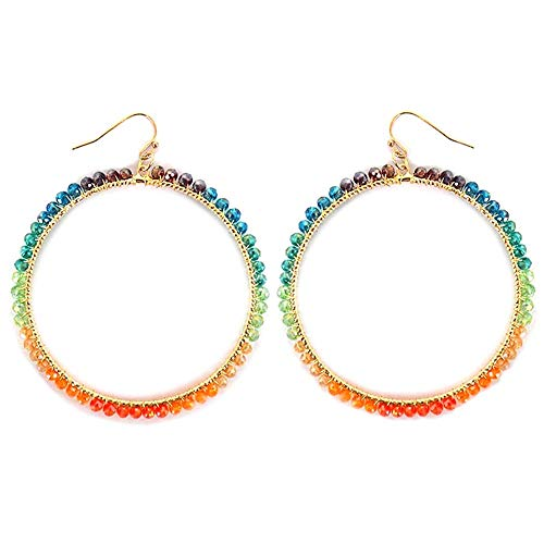 (Round Unicorn Rainbow Glass Round Fish Hook Earrings)
