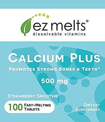 EZ Melts Calcium Plus with Vegan D3 and Magnesium, 500 mg, Sublingual Vitamins, Vegan, Zero Sugar, Natural Strawberry Flavor, 100 Fast Dissolve Tablets