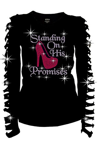 Fashion2ne1 Standing On His Promises Rhinestones T-Shirt Ripped Cut Out Pink Long (1X-Large) ()