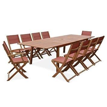 Salon de Jardin en Bois Extensible - Almeria Table 200/250 ...