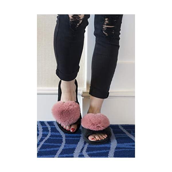 Women Men House Furry Outdoor Slipper Shoes Indoor Winter Foam Slipper 6.5-7.5,Pink