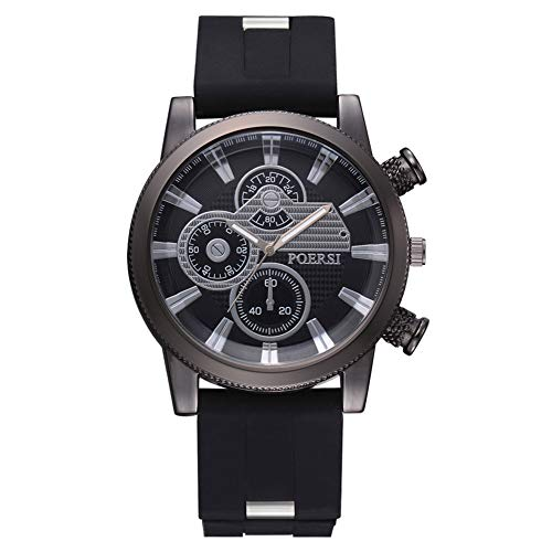 VGEBY Men's Analog Quartz Watch, Daily Waterproof Silicone Strap Casual Business Watch (Black)